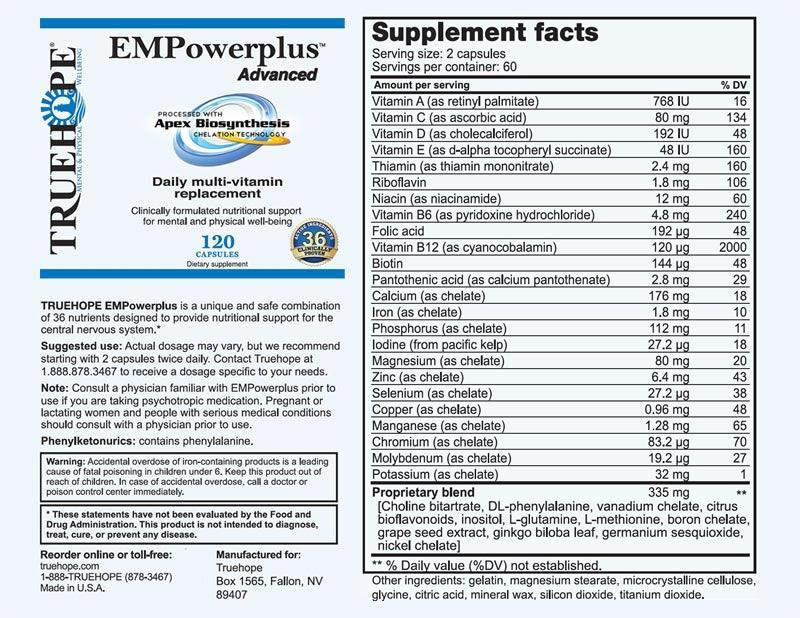 Truehope Empowerplus Advanced Ingredients Truehope
